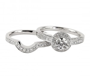Diamond ring and matching wedding ring