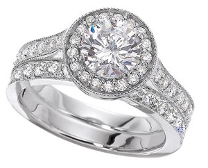 Halo setting with wedding ring